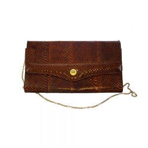 Kahverengi vintage yılan derisi çanta, clutch şeklinde gold metal zincir ve klipsiyle çok demode! Retrozade - Vintage Retro Antika