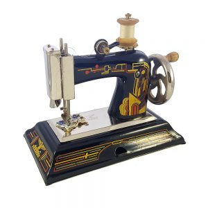 1940lardan Casige, zincir dikiş diken art-deco antika dikiş makinesi çalışır durumda! Ahşap bobin ve orijinal kutusuyla birlikte. Retrozade - Vintage Antika