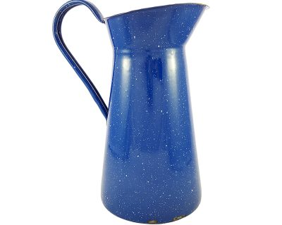 Kendinden desenli mavi vintage emaye sürahi Bluo. Ø 13cm, 2.5L kapasitesiyle retro bir vazo alternatifi! Retrozade - Vintage Retro Antika