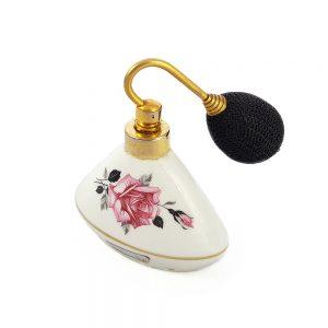 Vintage Bavaria porseleni pompalı parfüm şişesi Rosie. Altın bordürlü, gül baskılı. Doldurulabilir tipte, içi boştur. Retrozade - Vintage Retro Antika