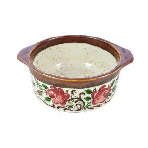 Fleur retro seramik kase kulplu, kırmızı çiçek baskılı, fırın ve servis kullanımına uygundur. Kahvaltılık ya da çerezlik olarak da kullanılabilir.