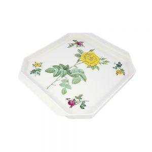Porselen vintage çiçekli octagon servis tabağı köşeli şekli ve retro gül baskılı designı sayesinde farklı ve çok şık. Retrozade - Vintage Retro Antika