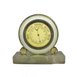 Mermer zemin parçalı, işlemeli metal çerçeveli antika fransız barometre, aneroid (havalı) nem ölçer. Retrozade - Vintage Retro Antika