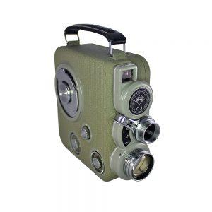 1950'ler Avusturya yapımı orijinal deri çantası ve lens koruyucusuyla metal body vintage yeşil Eumig C3 8mm film kamerası. Retrozade - Vintage Retro Antika