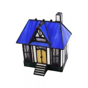 Vintage mavi çatılı ev şeklinde tamamen renkli camdan üretilmiş %100 el yapımı tiffany masa lambası. Ampül ürüne dahildir. Retrozade - Vintage Retro Antika