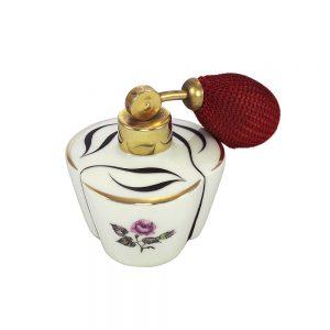 Vintage Bavaria porselen pompalı parfüm şişesi Minie Rose. Siyah işlemeli, gül baskılı. Doldurulabilir tipte, içi boştur. Retrozade - Vintage Retro Antika
