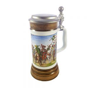 Bavaria porselen kapaklı bira kupası Knight, orta çağ baskılı ve el boyaması şeritleriyle benzersiz! Retrozade - Vintage Retro Antika