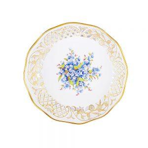 Porselen işlemeli sunum tabağı Mai altın işlemeli delikli kenarları ve mavi çiçekleriyle capcanlı ve çok şık. Retrozade - Vintage Retro Antika