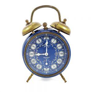 Vintage kurmalı çalar saat Baroque, canlı mavi rengi ve altın rengi çanlarıyla tüm koleksiyonerlerin gözdesi! Retrozade - Vintage Retro Antika
