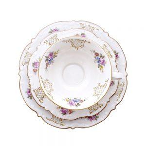 Bavaria trio fincan takımı Iris; pasta tabağı & çay fincanı ve tabağından oluşan porselen set. İşlemeli kenarları ve çiçeklerle çok şık! Retrozade Vintage