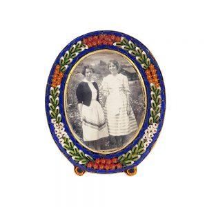 Renkli camdan mikro mozaik fotoğraf çerçevesi, tamamen el yapımı mozaik, siyah-beyaz fotoğrafıyla birlikte renkli ve nostaljik! Retrozade - Vintage • Antika