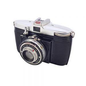 Bilora Bella 55 orta format fotoğraf makinesi, 4×6,127 roll film kullanır, orijinal deri çantasıyla! Retrozade - Vintage • Retro • Antika