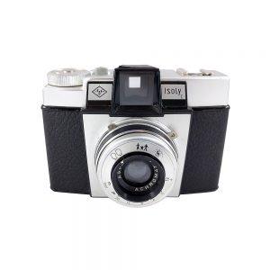 Agfa Isoly I fotoğraf makinesi 1960-71 arası Alman yapımı 4x4 orta format kamera, Agfa Achromat 1:8 lens ve orijinal deri çantasıyla! Retrozade • Vintage