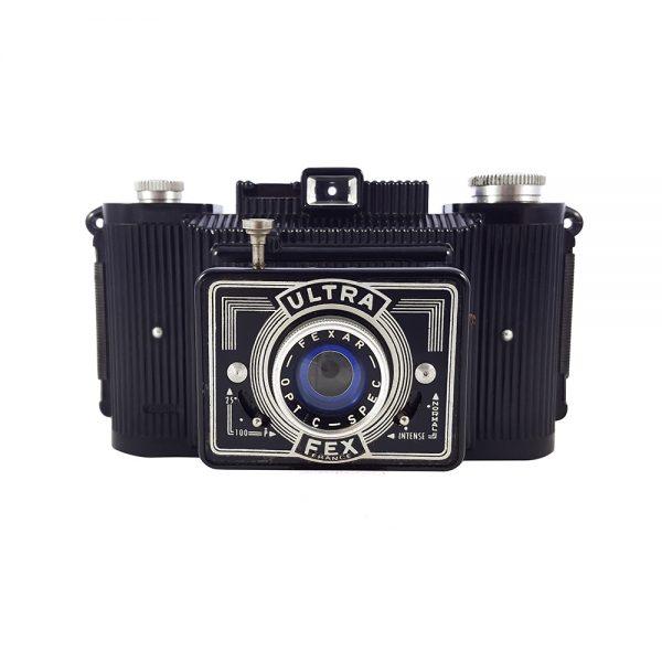 Fex Indo Ultra-Fex 1946-1966 üretimi, 6X9 format bakalit fotoğraf makinesi, orijinal deri çantasıyla (120 roll film) Retrozade Vintage • Retro • Antika