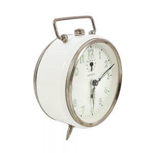 Kienzle çalar saat Alman yapımı, çalışır durumda, beyaz, gümüş çerçeveli, ve kurmalı çalar saat! Retrozade - Vintage • Retro • Antika