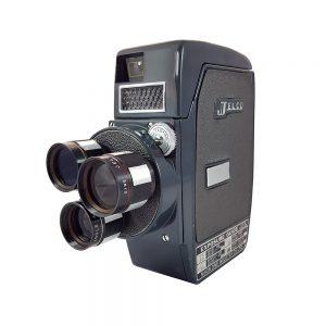 Jelco Three Turret 8mm cine kamera, 1960'larda Japon üretimi, vintage gri - mavi renklerinde, orijinal tutma kolu ve kutusuyla! Retrozade Vintage • Retro
