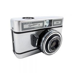 Ilford Sportsman R fotoğraf makinesi, 1960'larda Alman üretimi, damalı dizaynıyla mükemmel kondisyonda ve orijinal çantasıyla! Retrozade - Vintage • Retro