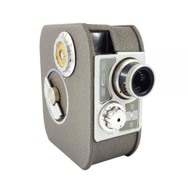 Armor 8 sine kamera, 1950'lerde Fransa üretimi 8mm, gri metal body, orijinal deri çantasıyla koleksiyonerlere özel! Retrozade Vintage • Retro • Antika