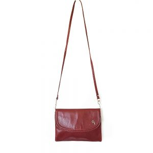 Kırmızı vintage deri çanta Rosa; hakiki deri, gold metal detaylarıyla günlük kombinleriniz için çok demode! Retrozade - Vintage Retro Antika