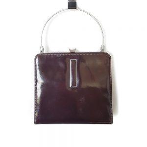 Vintage kahve rugan çanta; Paris'ten gece kombinleriniz için parlak rugan, çok kaliteli ve metal sapıyla çok demode! Retrozade - Vintage Retro Antika