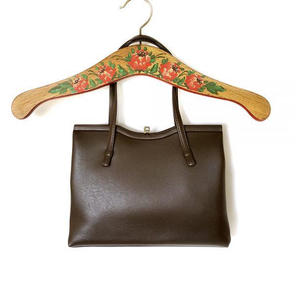 Kahverengi vintage çanta; günlük kombinleriniz için şık, kaliteli ve gold klipsiyle çok demode! Retrozade - Vintage Retro Antika