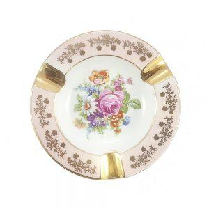 Limoges Porselen Kül Tablası Blush; damgalı Fransız porseleni, kenarları toz pembe altın işlemeli, içi çiçek bahçesi! ✨Retrozade✨Vintage • Retro • Antika