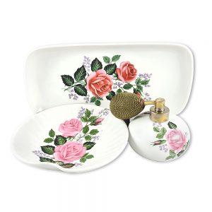 Vintage Bavaria porselen parfüm şişesi set; porselen parfüm atomizer, tepsisi ve takı tabağından oluşan takım, retro çiçekleriyle capcanlı! ✨Retrozade✨Vintage • Retro • Antika