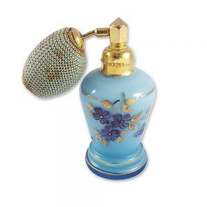Mavi el boyama parfüm şişesi; mavi çift cam üzeri el boyama çiçekleriyle, İspanya'dan, çok estetik, pompalı atomizer! Retrozade ✨ Vintage • Retro • Antika