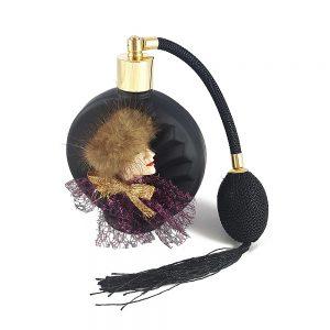 Siyah parfüm şişesi opak mat buzlu cam üzerine kadın figürlü, kullanılmamış, doldurulabilir tipte pompalı atomizer! ✨Retrozade✨Vintage • Retro • Antika