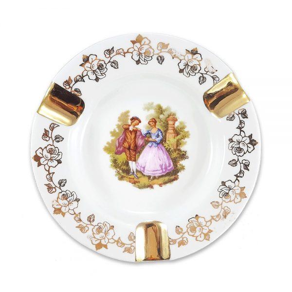 Limoges kül tablası Fragonard; damgalı Fransız porseleni, altın boyama çiçeklerle bezeli! Fragonard desenli küllük, zevk sahibi tiryakilere! ✨Retrozade✨Vintage • Retro • Antika