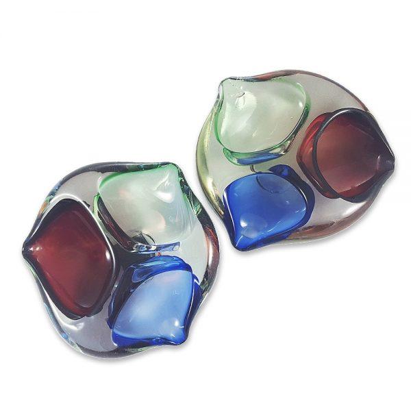 Murano kül tablası Triplo; RGB renk skalasında, kırmızı, yeşil ve mavi üç gözlü, Sommerso tekniğiyle tamamen el yapımı, nostalji sevenlere özel! ✨Retrozade✨Vintage • Retro • Antika