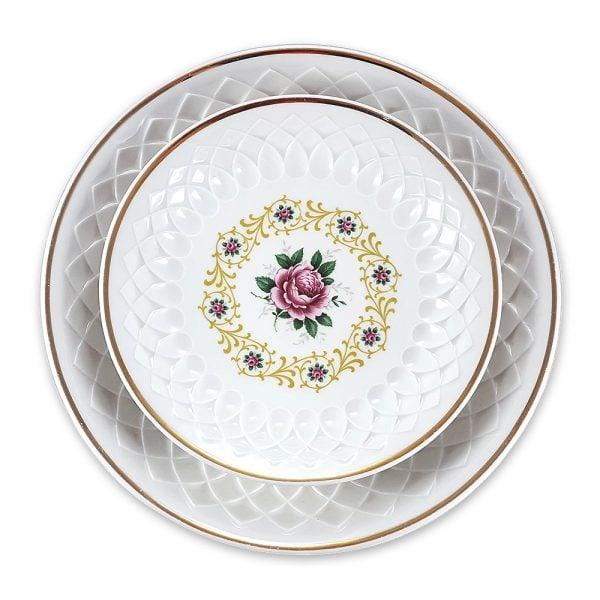 Vintage Bavaria sunum tabağı set Fiera ile servisleriniz canlansın! Retro designıyla çok göz alıcı 2'li set! Kendinden işlemeli porseleniyle şık sunumlarınıza vintage dokunuş! ✨Retrozade✨Vintage • Retro • Antika