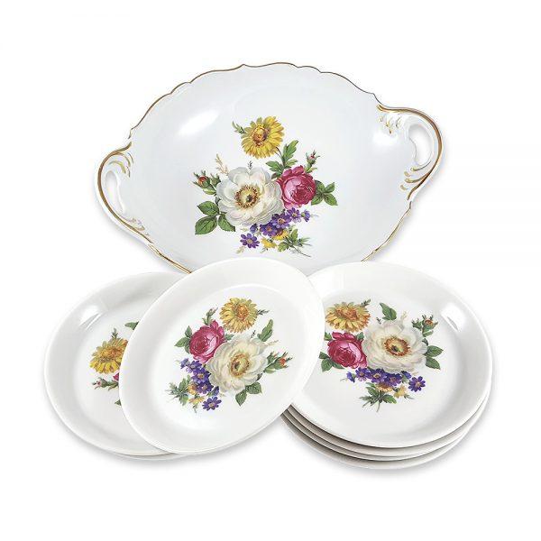 Porselen Bavaria servis seti Venüs ile tatlı servisini sanata dönüştürün! Floral baskılı altın bordürlü tabaklarıyla, şık sunumlarınıza vintage dokunuş! ✨Retrozade✨Vintage • Retro • Antika