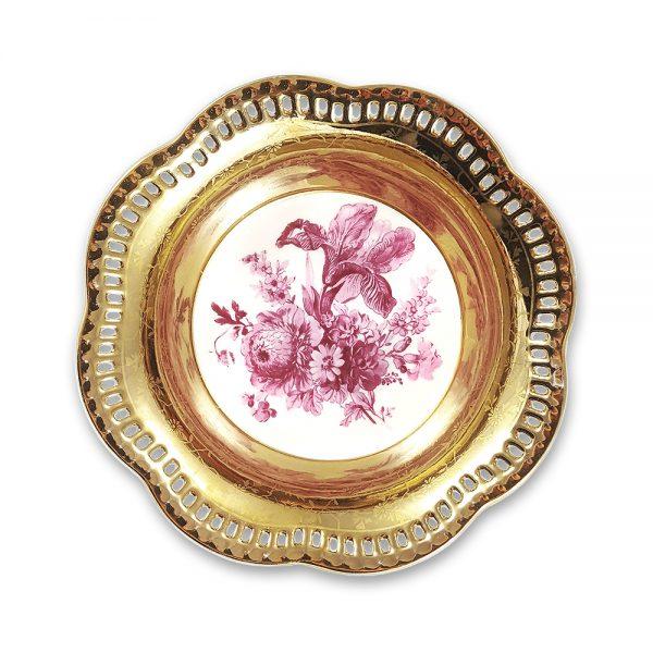 Altın ajurlu Bavaria tabak Dora ile sunumlarınızı sanata dönüştürün! Floral baskılı altın suyunda işlenmiş kenarlarıyla, şık sunumlarınıza vintage dokunuş! ✨Retrozade✨Vintage • Retro • Antika