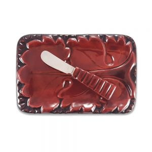 Retro seramik tereyağlık; yaprak desenli kabartmalarıyla çok farklı, takım bıçağıyla kahvaltılarınızın vazgeçilmezi olacak! ✨Retrozade✨Vintage • Retro • Antika